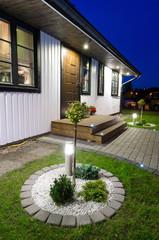 Modern garden entree to villa house