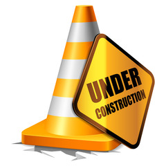 Traffic cone and under construction sign.