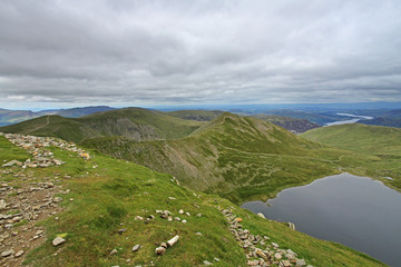 view from helvellyn, lake district, england