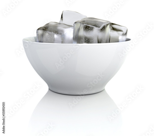 3d rendered ice cubes in a white bowl with clipping path
