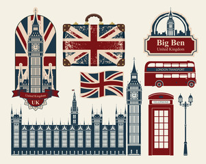 set of drawings on the theme of Great Britain and London
