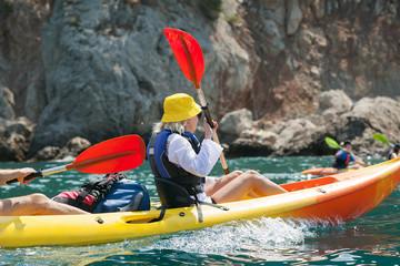 Kayak. People kayaking in the ocean