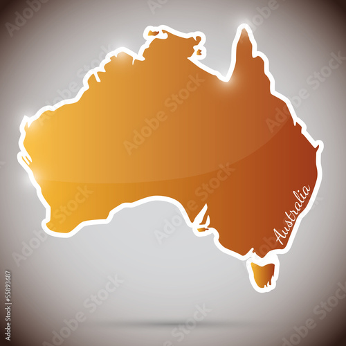 vintage sticker in form of Australia