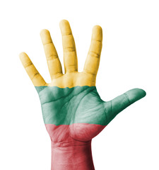 Open hand raised, multi purpose concept, Lithuania flag painted