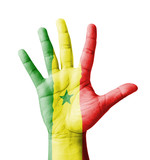 Open hand raised, multi purpose concept, Senegal flag painted