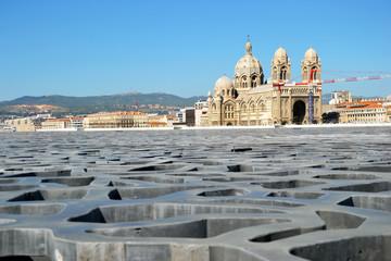 Marseille - La Major vue du parterre du Mucem