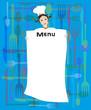illustrazione di ragazza vestita da chef e cartello del menù