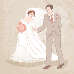 bride and groom on grungy background - vector illustration