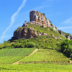 Solutre Rock with vineyards in Burgundy