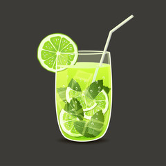 drink in glass with straw - vector illustration
