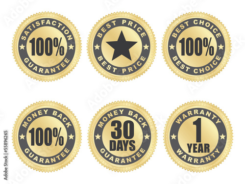 set of golden satisfaction guarantee seals