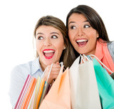 Surprised shopping women