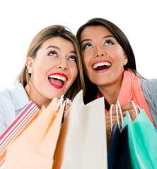 Very happy shopping girls
