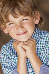 Young Happy Blond Boy Child Smiling