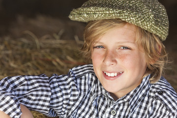 Young Happy Blond Boy Child Plaid Shirt Flat Cap