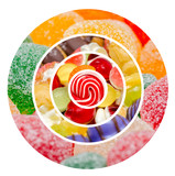 Sweet Confectionery Background Collage