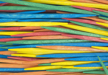 Close view colorful toothpicks