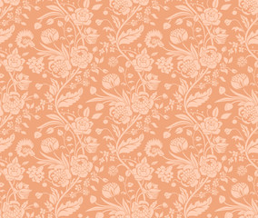Pastel seamless pattern with a vintage flower bouquets