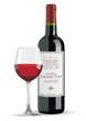 Bouteille et verre de vin rouge