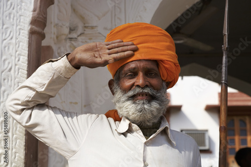 India, Rajasthan, Pushkar, indian guard