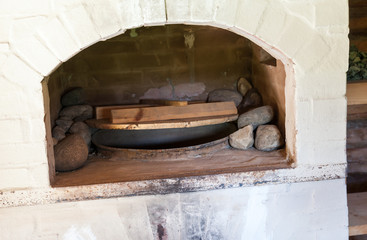 Traditional Russian brick oven in the bath
