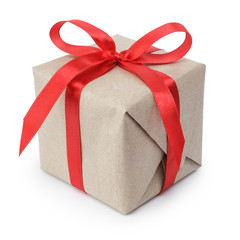 small gift box wraped in recycled paper with ribbon bow