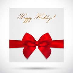Holiday card, Christmas card, Gift Birthday card with bow