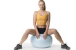 girl blond sitting on fitness ball
