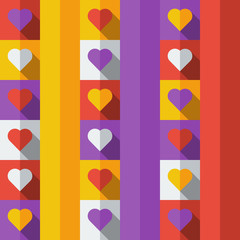 Background with colorful hearts in flat icon style