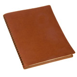 brown leather spiral notebook isolated on white