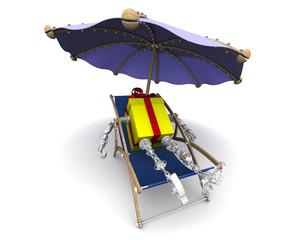 Подарочная коробка в виде робота отдыхает в шезлонге под зонтом