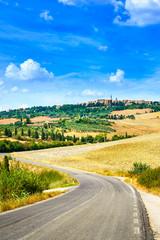 Tuscany, road to Pienza medieval village. Siena, Italy