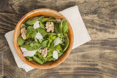Salad with cheese and walnut