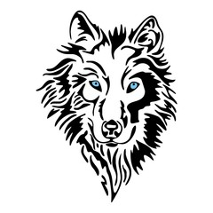 wolf head sketch tattoo vector