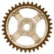 Retro styled image of an old gear wheel isolated on white