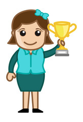 Girl Won a Trophy Cup - Cartoon Business Vector Illustrations