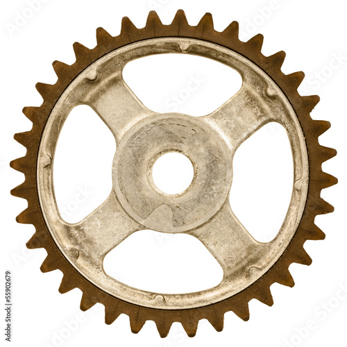 Retro styled image of an old gear wheel isolated on white - 55902679