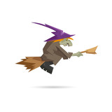 Witch on a broomstick isolated on a white backgrounds