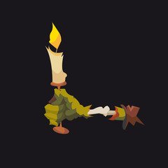 Zombie hand with a candle isolated on a black backgrounds
