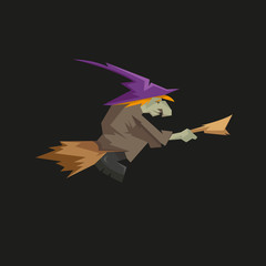 Witch on a broomstick isolated on a black backgrounds