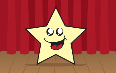 Star cartoon character on stage in front of curtain