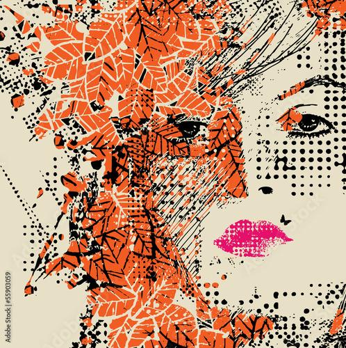 Papiers peints Visage de femme abstract floral woman