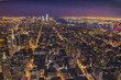 Aereal view of Manhattan by night
