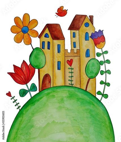 fairly tale landscape. watercolors