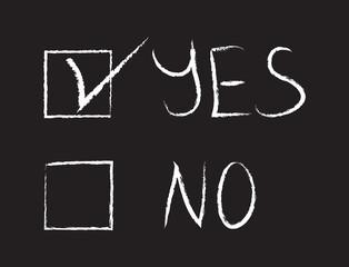 Yes or No written on the blackboard