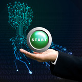 Start button on manager hand, Technology background poster