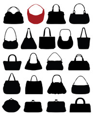 Silhouettes of purses, vector