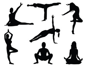 Silhouettes of fitness 3, vector