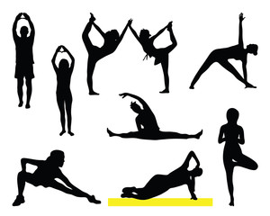Silhouettes of fitness, vector
