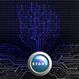 Start button on circuit board in Tree shape poster